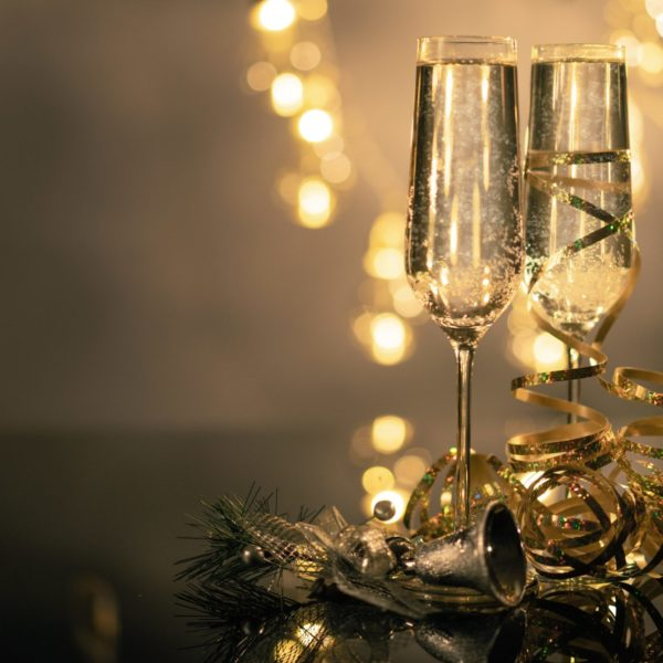 Festive champagne flute